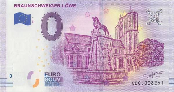 0-Euro-Banknote Braunschweiger Löwe 2018