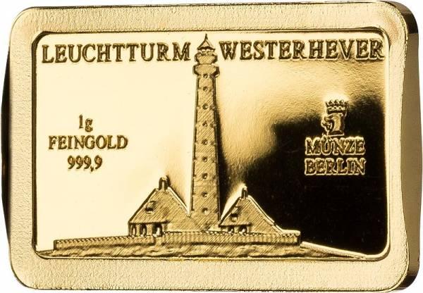 1 Gramm Goldbarren Deutsche Wahrzeichen Leuchtturm Westerhever