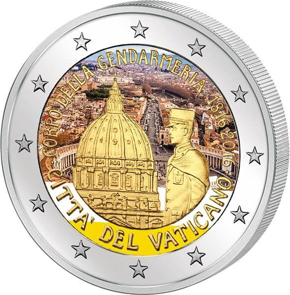 2 Euro Vatikan 200 Jahre Gendarmeriekorps Vatikanstadt 2016 mit Farb-Applikation