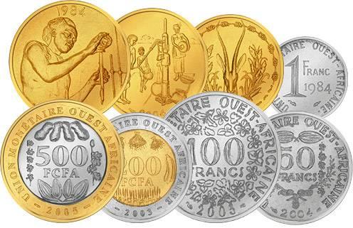 1 - 500 Francs Kursmünzensatz Westafrikanische Staaten JuW bankfrisch