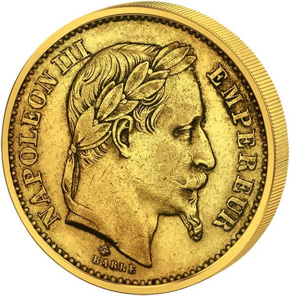 20 Francs Frankreich Napoleon III. mit Kranz 1861-1870 Sehr schön