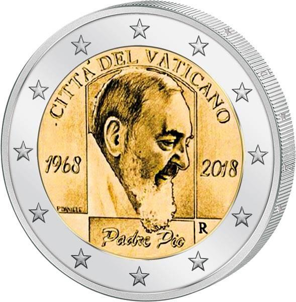 2 Euro Vatikan 50. Todestag von Padre Pio 2018