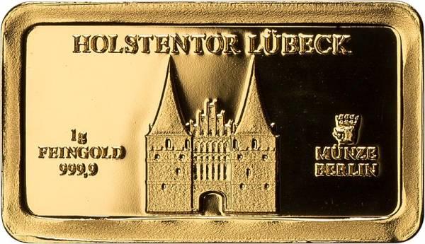 1 Gramm Goldbarren Lübeck Holstentor