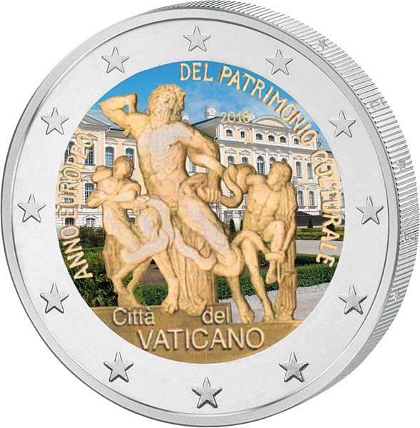 2 Euro Vatikan Europäisches Jahr des Kulturerbes mit Farb-Applikation