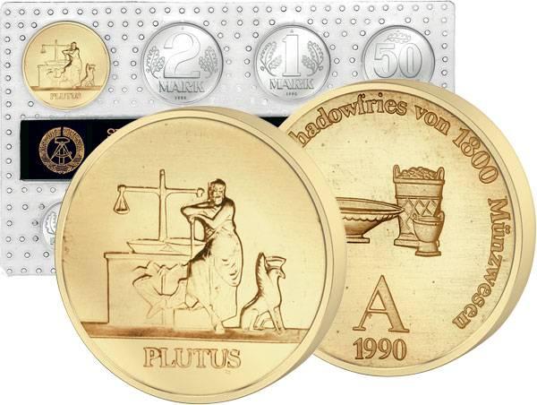 1 Pfennig - 2 Mark DDR Kursmünzensatz inkl Gedenkprägung Plutus 1990   Stempelglanz