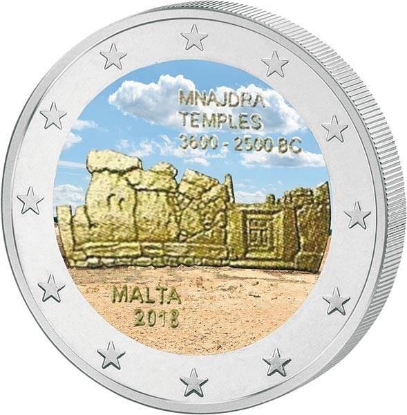 2 Euro Malta Mnajdra 2018 mit Farb-Applikation