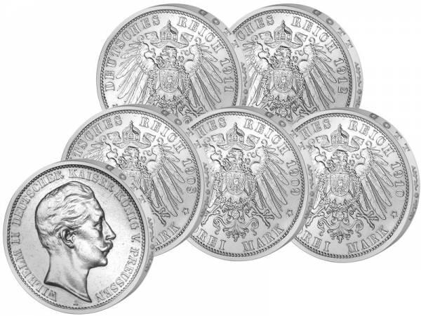 5 x 3 Mark Preußen Wilhelm II. Jahrgangskollektion 1908-1912