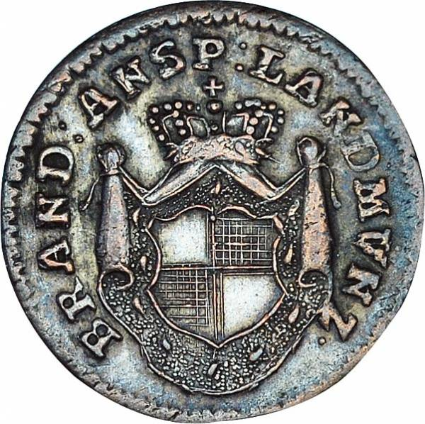 1 Kreuzer Brandenburg-Ansbach Markgraf Karl Alexander 1780, 1784-1791