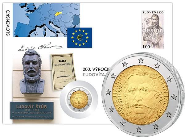 2 Euro Numisbrief Slowakei 200. Geburtstag Ludovit Stur 2015