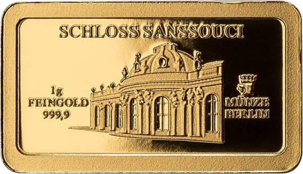 1 Gramm Goldbarren Schloss Sanssouci
