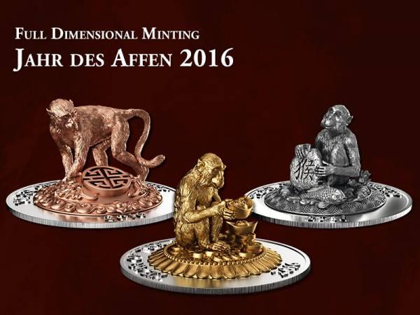 3 x 500 Francs Ruanda Jahr des Affen Prestige-Set 2016 Stempelglanz