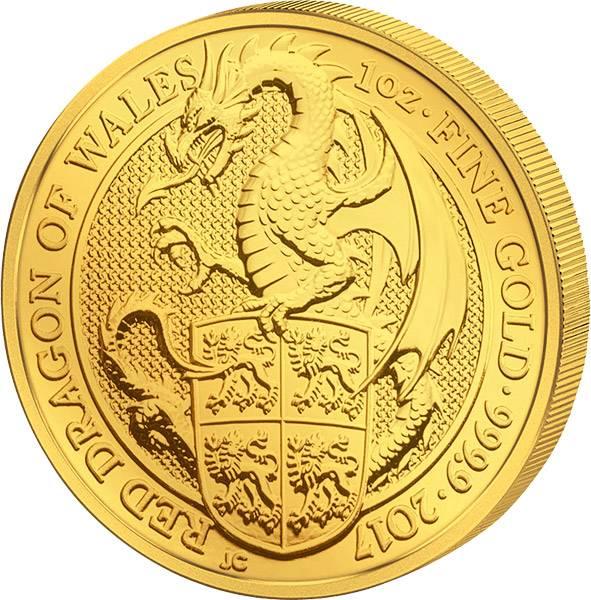 1 Unze Gold Großbritannien Queens Beasts Drache von Wales 2017