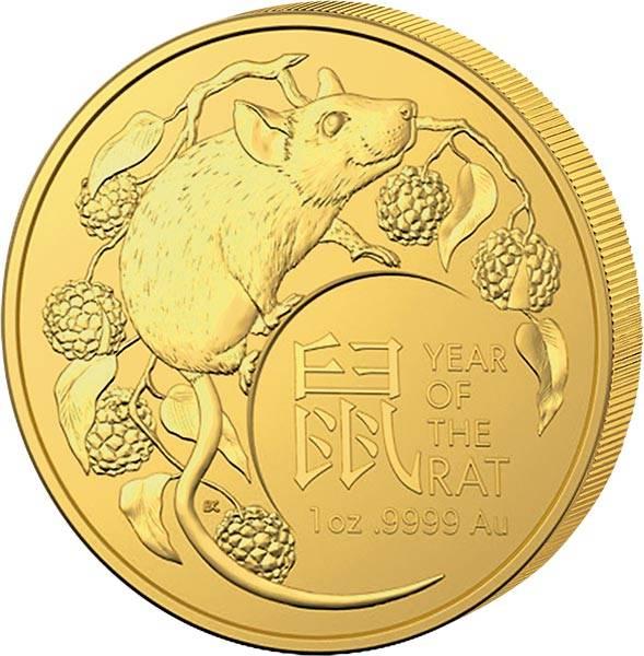 1 Unze Gold Australien Jahr der Ratte 2020