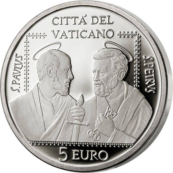 5 Euro Vatikan 50 Jahre Vereinigung der Heiligen Petrus und Paulus 2021