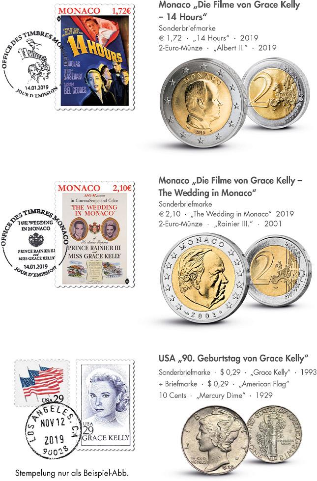 Münzbrief-Set mit drei verschiedenen Münzen und Briefmarken!