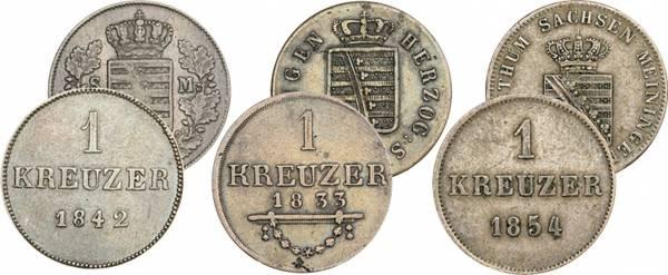3 x 1 Pfennig Sachsen-Meiningen Bernhard II. 1831-1854
