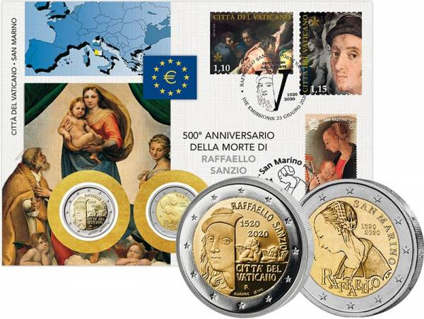 Doppelnumisbrief Vatikan und San Marino Raffael 2020