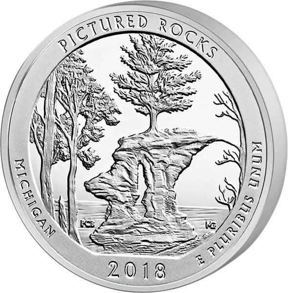 Quarter Dollar 25 Cents USA Michigan Pictured Rocks National Lakeshore 2018