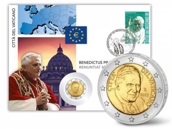 2 Euro Numisbrief Vatikan-Rücktritt Papst Benedikt XVI. 2013  prägefrisch