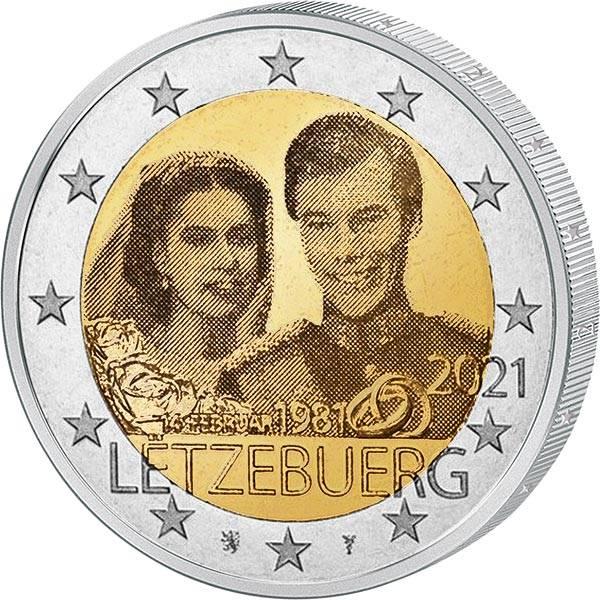 2 Euro Luxemburg 40. Hochzeitstag des großherzoglichen Paares Hologramm 2021