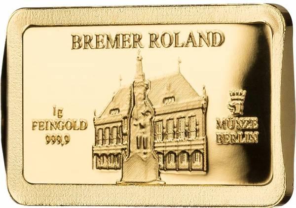 1 Gramm Goldbarren Deutsche Wahrzeichen Bremer Roland