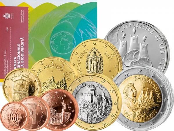 Euro-Kursmünzensatz San Marino inklusive 5-Euro-Gedenkmünze 2021