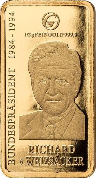 0,5 Gramm Goldbarren Richard von Weizsäcker