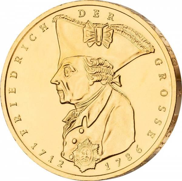 5 DM BRD Friedrich der Große 1986 vollvergoldet