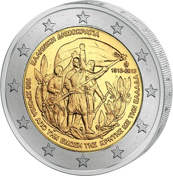 2 Euro Griechenland 100 Jahre Beitritt Kretas zu Griechenland 2013
