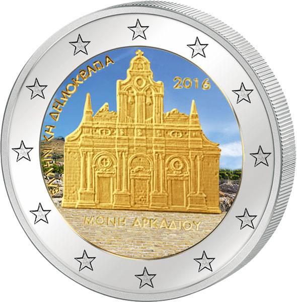 2 Euro Griechenland 150. Jahrestag des Falls von Kloster Arkadi 2016 mit Farb-Applikation