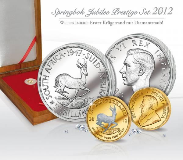 5 Shillings Springbok Jubilee Prestige Set  1947-51, 2012  ss-vz, Stempelglanz