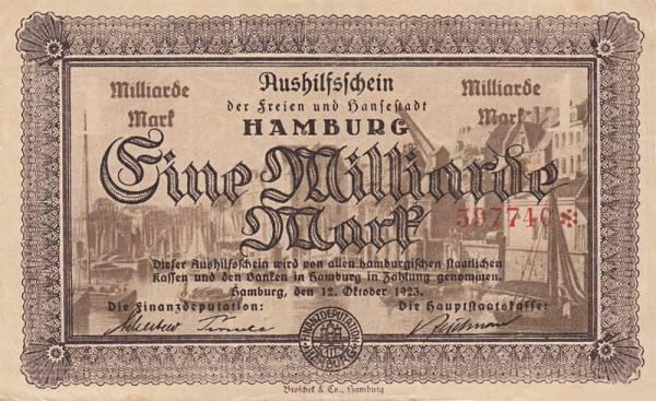 1 Milliarde Mark Hamburg Notgeldschein 1923