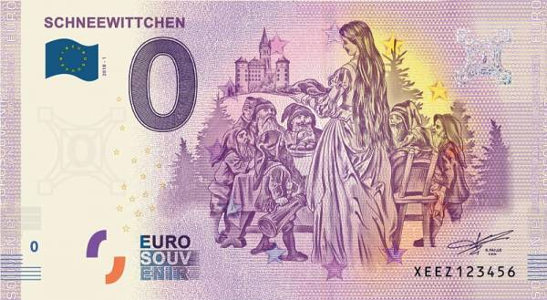 0-Euro-Banknote Schneewittchen 2019