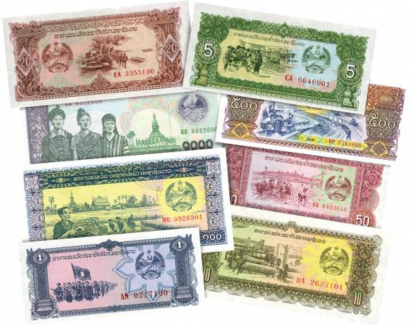 1 - 1.000-Kip-Banknoten Laos 1979-2003