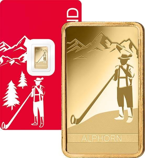 1 Gramm Goldbarren Schweiz Alphorn