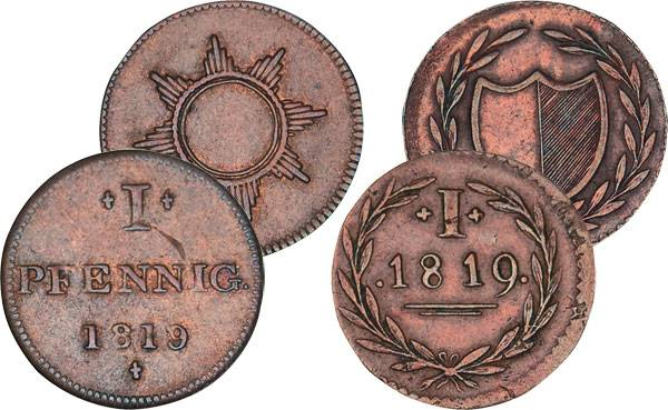 2 Pfennige Freie Reichsstadt Frankfurt 1819 Sehr schön