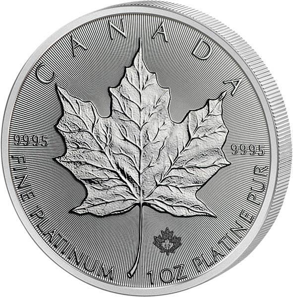 1 Unze Platin Kanada Maple Leaf 2017