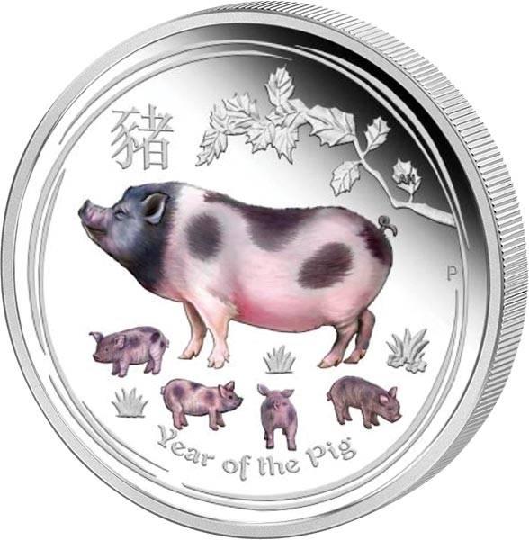 1 Unze Silber Australien Jahr des Schweins mit Farb-Applikation 2019