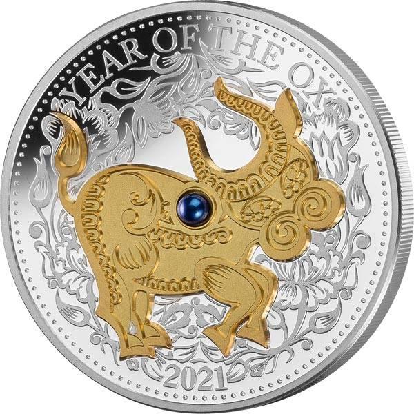 1 Unze Silber Fidschi Jahr des Ochsen 2021