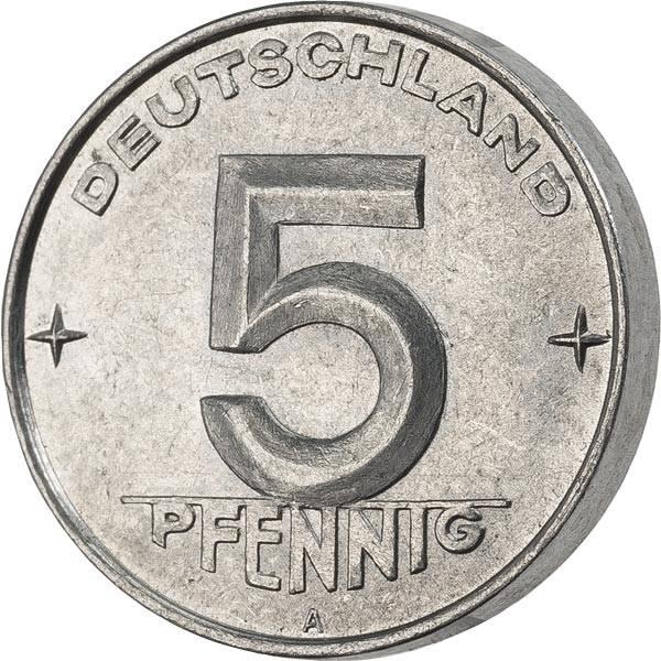 5 Pfennig DDR Hammer Ähren Zirkel 1953