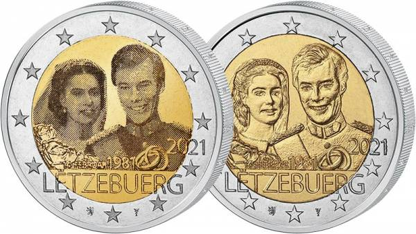 Set 2 Euro Luxemburg 40. Hochzeitstag 2021 Hologramm + pfr
