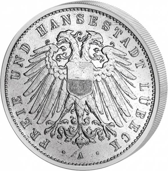2 Mark Lübeck breiter Adler 1904-1912 ss-vz