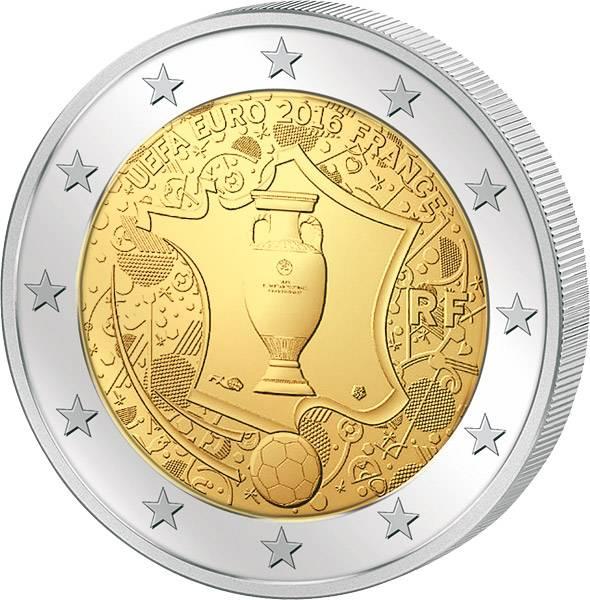 2 Euro Frankreich UEFA Fußball-Europameisterschaft 2016TM 2016 prägefrisch