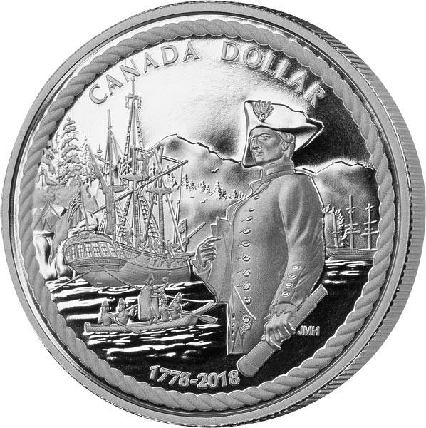 1 Dollar Kanada Kapitän Cook 240 Jahre Entdeckung des Nootka Sounds 2018