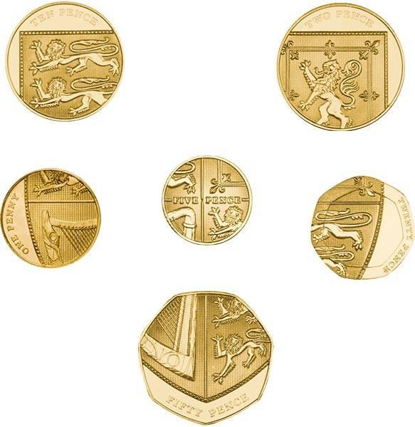 1 - 50 Pence Großbritannien Kursmünzen 2008-2014, vergoldet