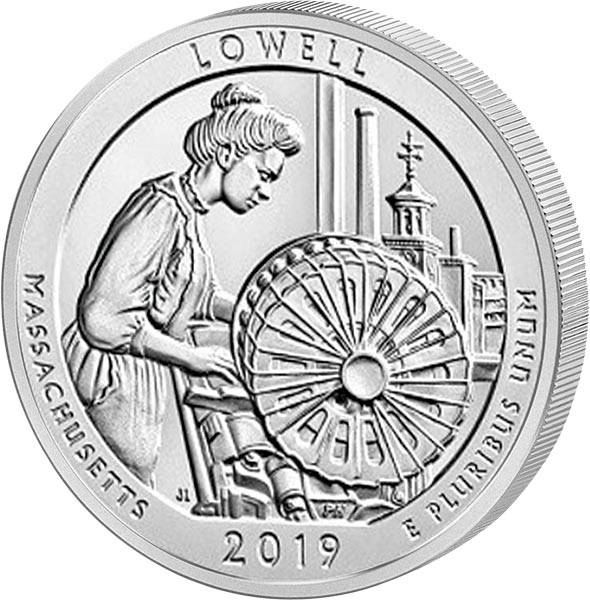 Quarter Dollar 25 Cents USA Massachuetts Lowell National Historical Park 2019
