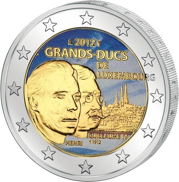 2 Euro Luxemburg 100. Todestag Wilhelm IV. 2012 mit Farb-Applikation