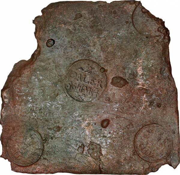 2 Riskdaler Schweden Plattengeld 1710-1760 sehr schön