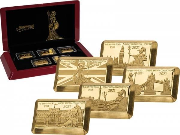 5 x 10 Dollars Barbados Goldbarren Kollektion Britische Sehenswürdigkeiten 2021
