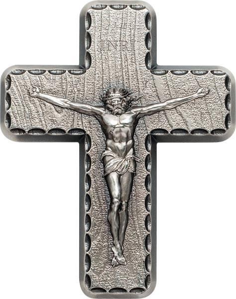 Silbermedaille Kruzifix mit Gebet
